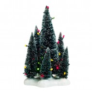 6 Evergreen Trees Clustered on a Base, Multicolour LED Lights, Battery Operated, h20.5cm